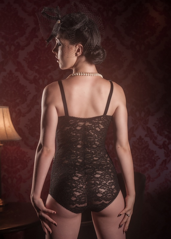 (BACK VIEW)...Stunning stretch black corded lace 'Intemporal Midnight' Bodysuit. Model: Frankie Faux Photo: Malcolm Grant