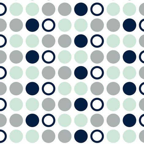 Polka Dots // Northern Lights - grey/mint/navy fabric by littlearrowdesign on Spoonflower - custom fabric