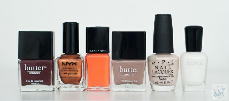 left to right: Butter London- Tramp Stamp, Nyx- Gold, Illamasqua- Gamma, Butter London- Yummy Mummy, OPI- My Vampire Is Buff, Zoya- Purity