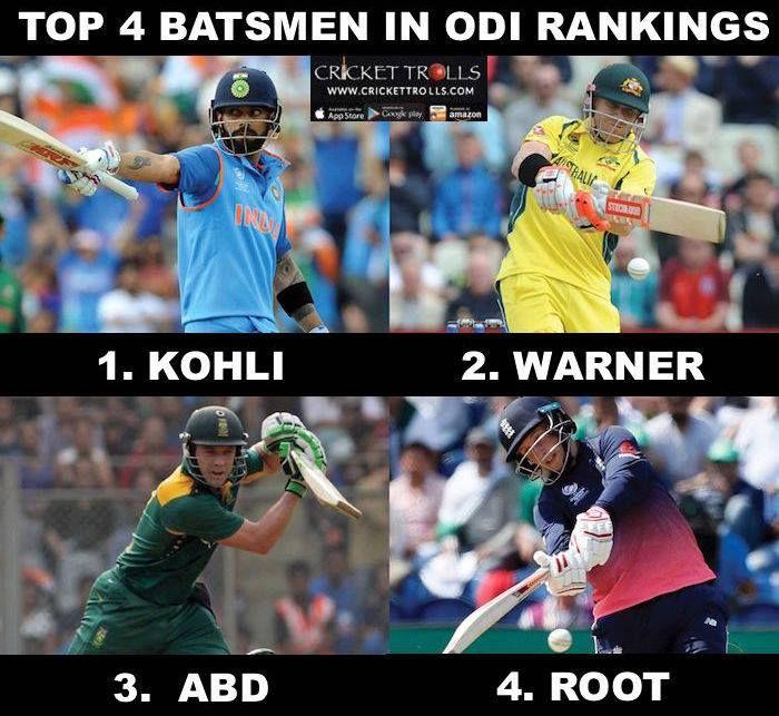 Top 4 Players in ICC's Latest Rankings For Batsmen In ODI's Virat Kohli David Warner AB de Villiers and Joe Root For more cricket fun click: http://ift.tt/2gY9BIZ - http://ift.tt/1ZZ3e4d