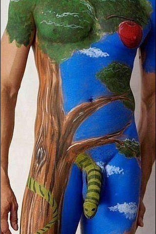 Body art...really terrifying snake
