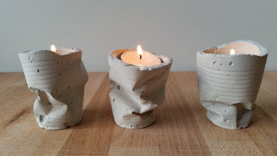Pack of 3 candle holder cement / 3 Pack by theconcretejungle