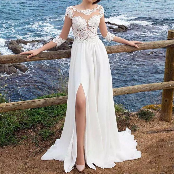 wuzhiyi 3/4 Long Sleeves Beach Bohemian Wedding Dresses 2018 Chiffon Scoop Neck Appliques Long Bridal Gowns With Side Split