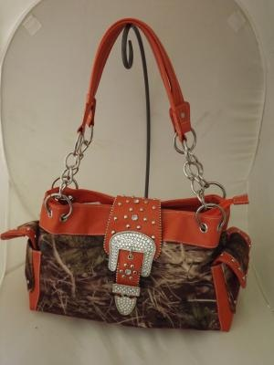 REAL TREE CAMO MOSSY OAK PURSE WITH RHINESTONES AND HUNTER ORANGE TRIM AND BLING BUCKLE