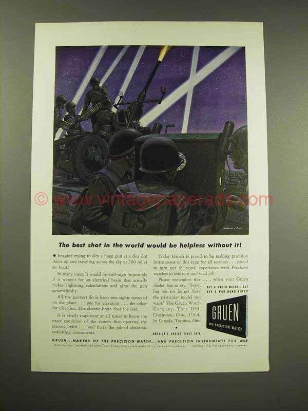 1943 Gruen Watch Ad - The Best Shot in the World