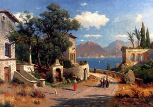An Italian Village By A Lake  Carl Gustav Rodde