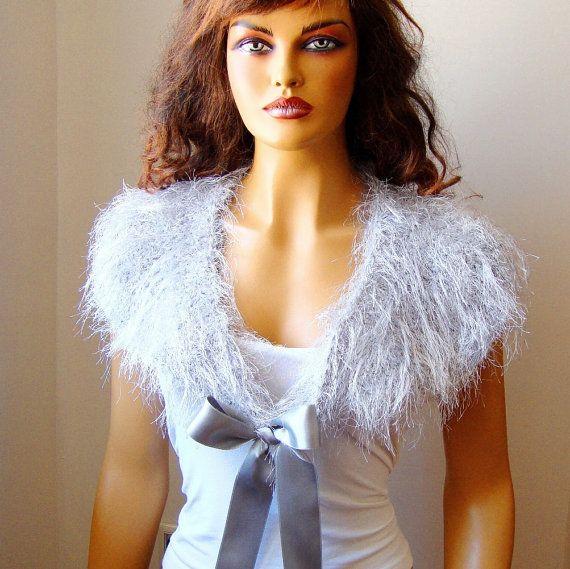 Crochet Bridal Silver Gray Bolero Shrug Light Gray by RoseAndKnit
