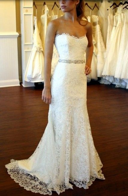 beautiful simple lace dress with a bling accent belt. i love the classy look, elegant, not too over the top look.