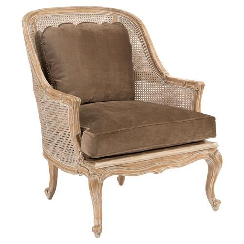 Bourges French Caned Bergere Brown Velvet Armchair