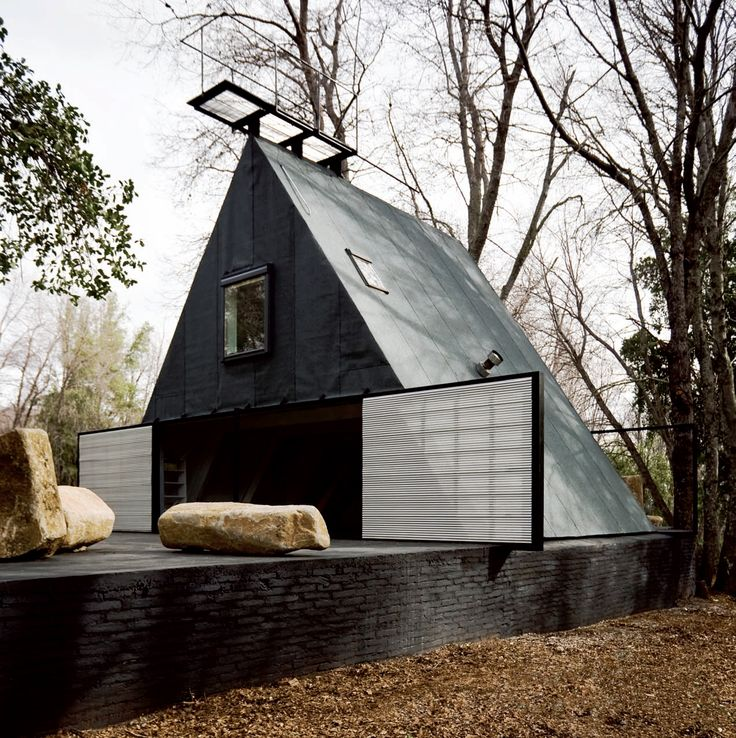 Smiljan Radic - Casa A, San Clemente 2008. Built from the existing structure of a dilapidated A-frame home; love the viewing platform on the roof. Via (pdf!