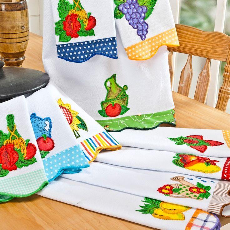 Pano de prato em patchwork bordado diversos