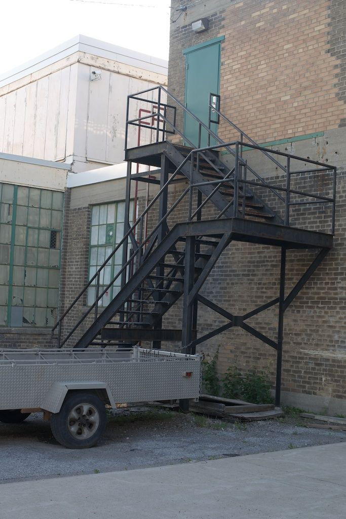 This is Look 2 venue. Same staircase, we can might go up the flight of stairs so that we'll have that cool window background instead of this ugly trailer.