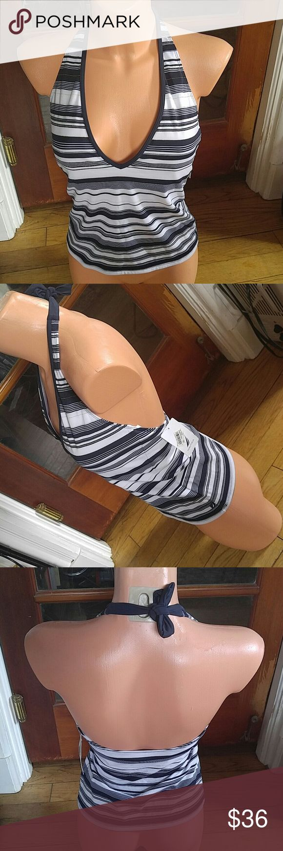 NWT Nautical blue white stripes w gold Tankini top Very nice Rankin is from Macy's overstock, prev years, returns etc. No visible issues. Built in bralet w pads. Mix & match .. Bundle 4 more savings. Nautica Swim Bikinis