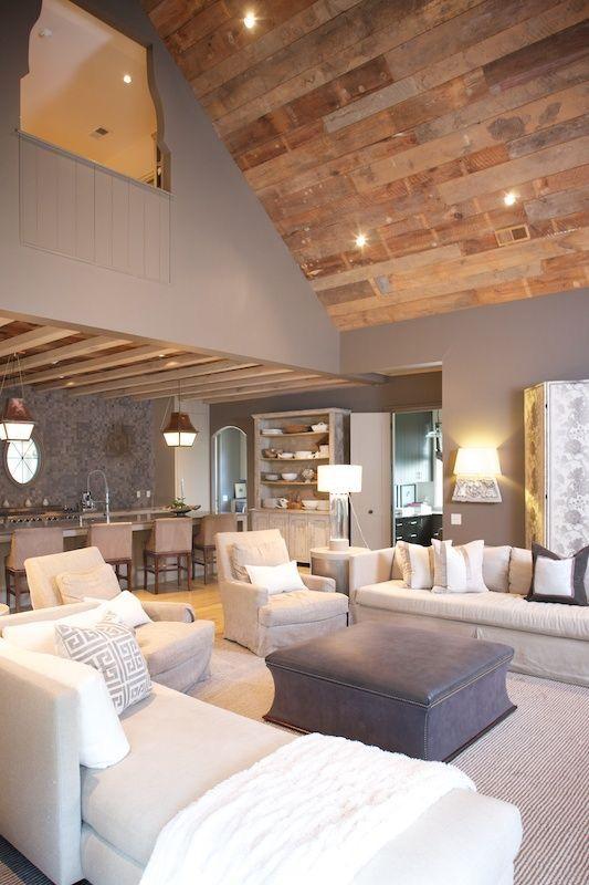 Ah. Beautiful open floor plan in living room. Love the wooden ceiling.