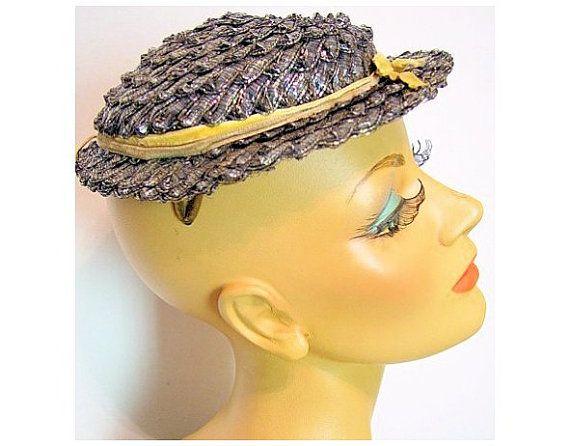 Vintage1940s Schiaparelli Raffeta Hat Garden Party Mad Man Rockabilly Designer Dress Retro femme fatale Dress