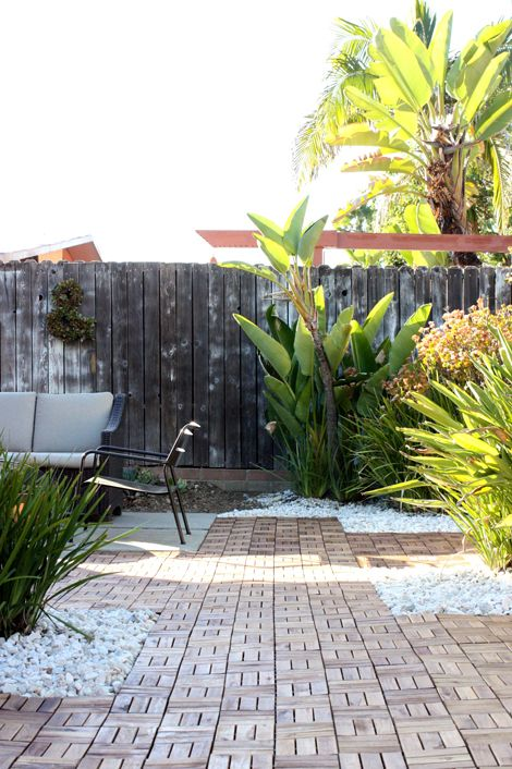 backyard patio with ikea platta decking i made this pinterest rocks just love and the white. Black Bedroom Furniture Sets. Home Design Ideas