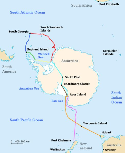 Map of the routes of the ships Endurance and Aurora, the support team route, and the planned trans-Antarctic route of the British Imperial Trans-Antarctic Expedition led by Ernest Shackleton in 1914–15.