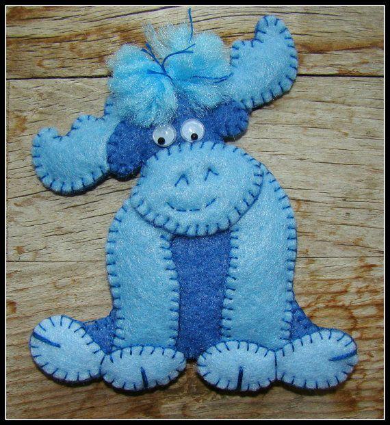 Blue Moose Ornament-Once In A Blue Moose-Moose Magnet-handmade felt embroidered moose gift.