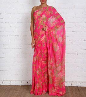 Pink Handloom Chiffon Saree