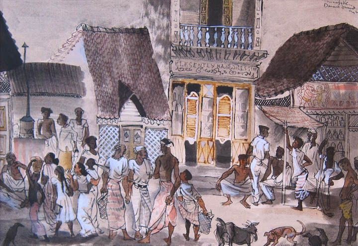 Donald Friend - Townsfolk, Ceylon  I find this mesmerising and I cannot enunciate why.