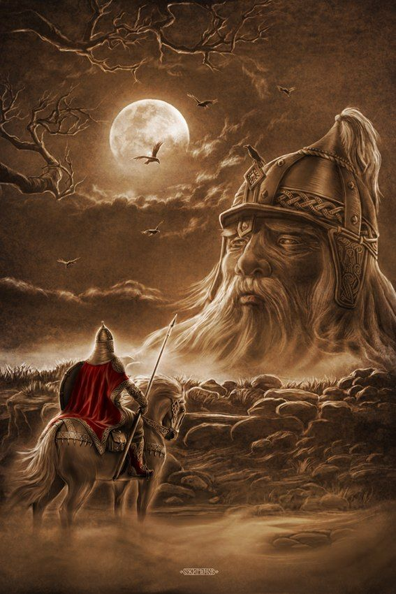 Slavic mythology by Igor Ozhiganov. The Slavic world series. Ruslan&the head. (Ruslan and Ludmila is a 1820 poem by Alex.Pushkin, written as an epic fairy tale; tells the story of the abduction of Ludmila, the daughter of Prince Vladimir of Kiev, by an evil wizard and the attempt by the brave knight Ruslan to find and rescue her...)