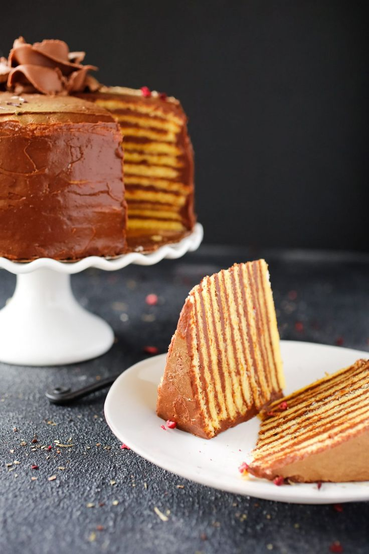 Dobos Torte - A Hungarian sponge cake that's known for its thin sponge cake layers and complemented with a rich buttercream. It's a show stopper!