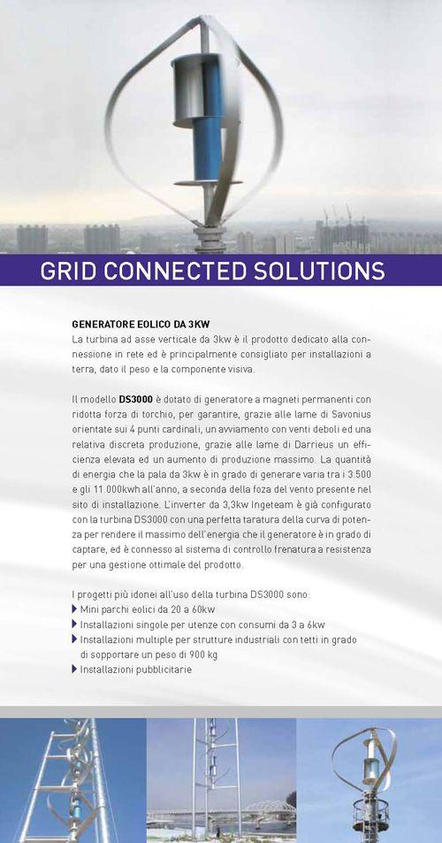 Generatore eolico di taglia grande per installazioni connesse ala rete elettrica, di singola turbine o di turbine multiple su singolo palo