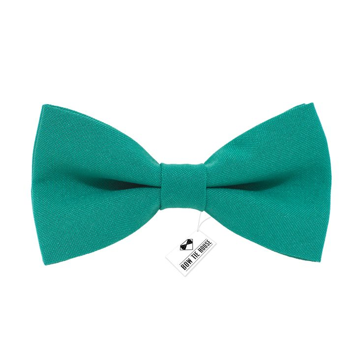 Solid pre-tied Green Teal Bow Tie in classic color gabardine fabric (Small, Medium, Large)