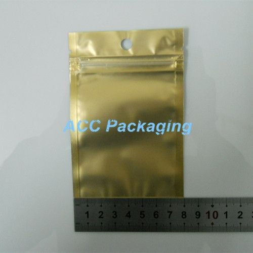 8*13cm Golden / Clear Self Sealed Zipper Plastic Retail Packaging Pack Bag Zip Lock Storage Bag Retail Package With Hang Hole