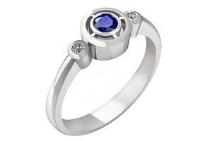 Moderní zlatý prsten, do kterého jsou fasovány dva třpytivé brilianty a centrální drahý kámen. Zvolit můžete oslnivě zelený smaragd, tmavě modrý safír či vášnivě červený rubín.