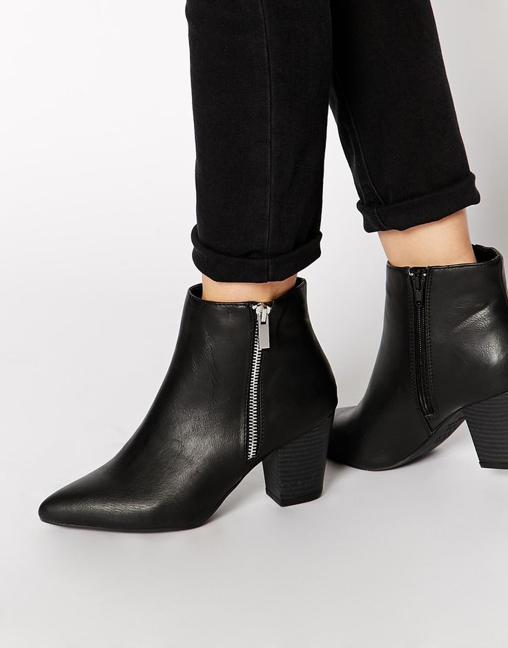 Shop New Look Beastie Black Pointed Block Heel Ankle Boots at ASOS.