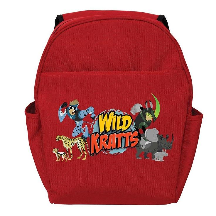 Kids Red Wild Kratts Backpack Kratts Martins Brothers Chris Rhino Cheeta Wasp Yellow Black Honey Bumble Bee Cartoon Tv Show School Bag Stap Back