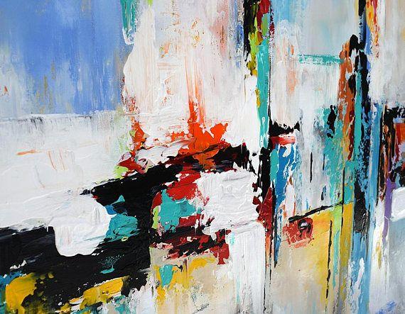 Abstrakte Zeitgenössische Grosser Malerei Auf Leinwand, Moderne Kunst,  Malerei, Handgefertigt, Original Wand Dekor Kunst Lila, Blau, Aqua, Gelb,  ...
