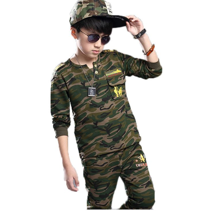 Hot 2017 Spring Fall Children Camouflage Clothing 2 Pcs Boys Sports Track Suit Kids Hooded shirt Tops Pants Military Uniform