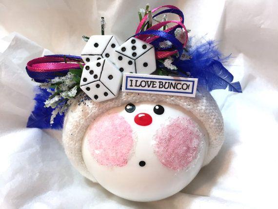 BUNCO ornement bleu j'aime Noël Bunco Townsend cadeaux personnalisés dés Die rubans roses bleus - A