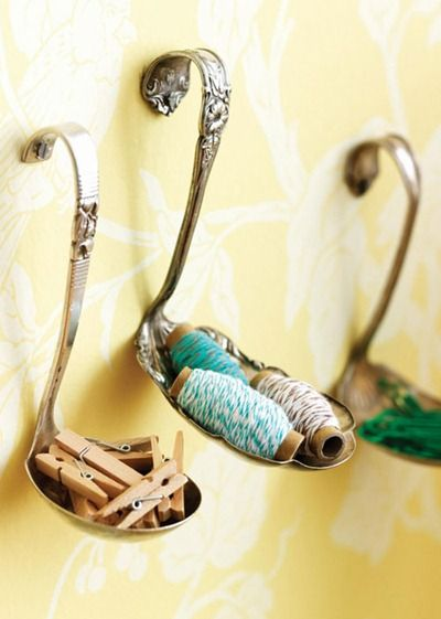 tiny spoon storage. Ring holder maybe....: Wall Hooks, Crafts Ideas, Crafts Rooms, Silver Spoons, Craftroom, Sewing Rooms, Diy, Repurposed, Spoons Hooks