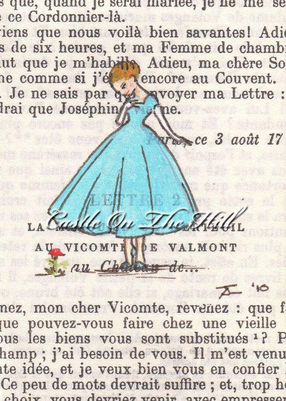 Paris 1950  An Unexpected Flower On the Rue du by CastleOnTheHill (Art & Collectibles, Prints, Digital Prints, illustration, portrait, fashion, 1950s, fifties, vintage, paris, france, blonde, french, book, blue, flower)