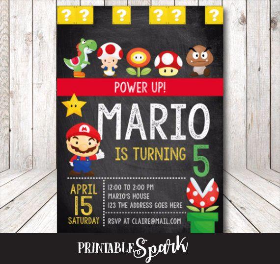 Super invitación de mario cumpleaños de Super Mario Mario