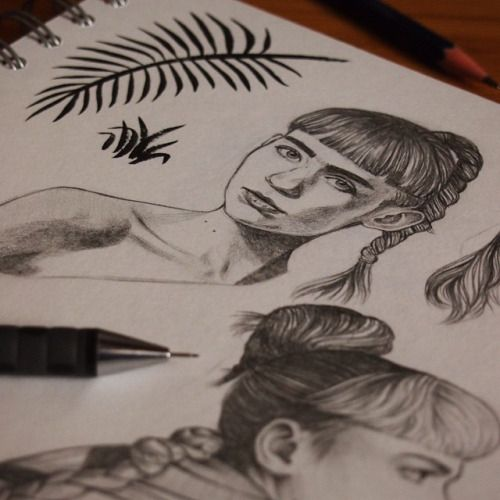 In progress.. Working on some sketches for a Grimes pattern/background