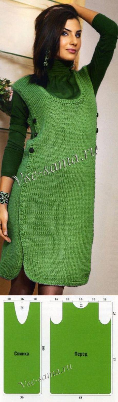 Оригинальный сарафан зелёного цвета