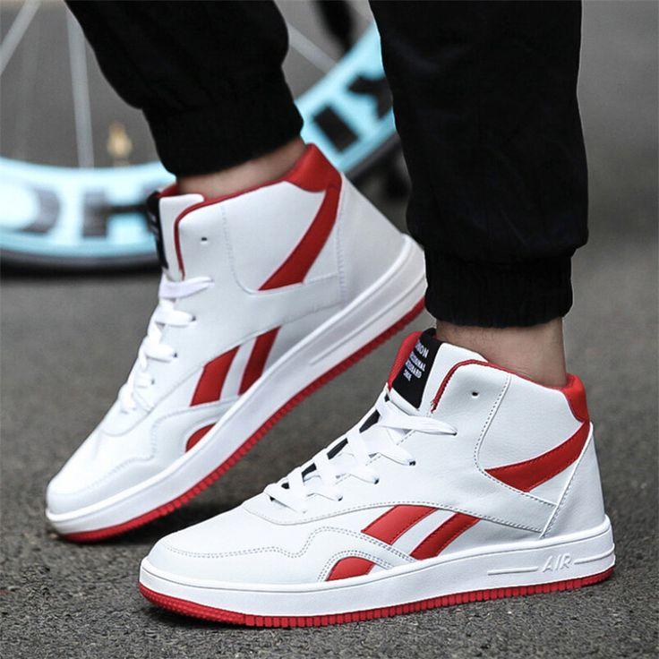 Британский Мужские Высокие Кроссовки для Мужчин Спортивная Обувь Мальчики Белые Кроссовки Дышащий Теннисные Туфли 39-44