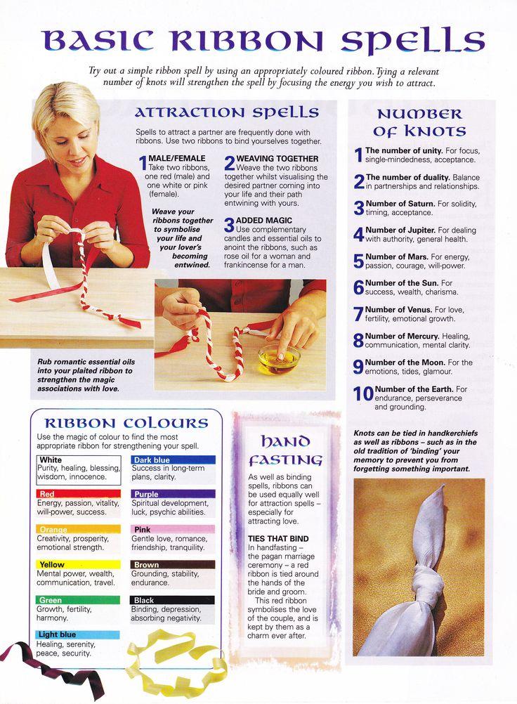 Magick Spells:  Basic Ribbon #Spells.  - use knots to seal spells.