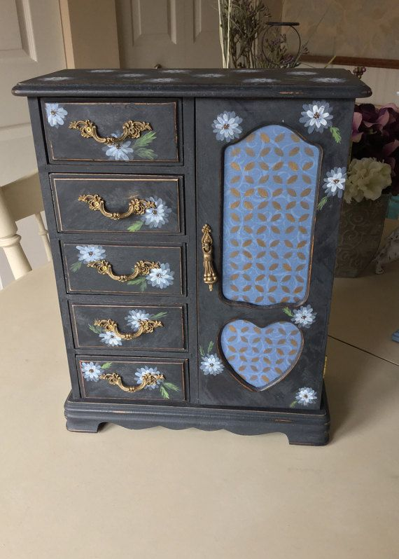 Shabby Chic Jewelry Box / Painted Vintage Jewelry Box / OOAK Wooden Jewelry Armoire