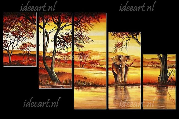 Schilderij Afrikaanse Olifant in Waterhole | Schilderijen Olifanten