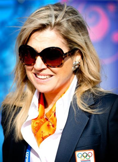 Dutch Queen Maxima visits the Olympic village, febr 2014.