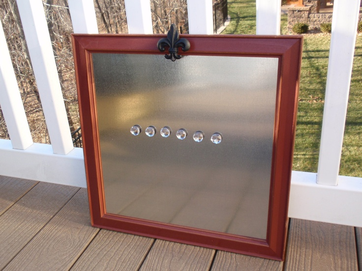 square framed magnetic board makeup or dry erase board in barn red weathered distressed frame black wrought iron knob u0026 6 jewel magnets