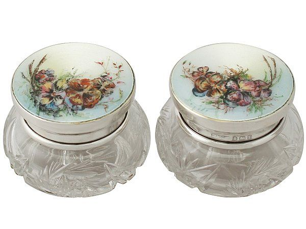 Pair of Sterling Silver, Cut Glass and Enamel Dressing Table Jars - Antique George V SKU: A4968 Price: GBP £995.00 http://www.acsilver.co.uk/shop/pc/Pair-of-Sterling-Silver-Cut-Glass-and-Enamel-Dressing-Table-Jars-Antique-George-V-42p8690.htm
