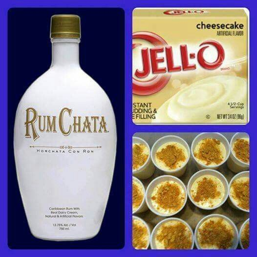 Rumchata Cheesecake Shots 1 small pkg. Cheesecake pudding (instant, not the cooking kind) ¾ Cup Milk ¾ Cup Rum Chata 8oz tub Cool Whip  Directions  1. Whisk together the milk, liquor, and instant pudding mix in a bowl until combined.  2. Add cool whip a little at a time with whisk.  3. Spoon the pudding mixture into shot glasses, disposable 'party shot' cups or 1 or 2 ounce cups with lids.  Garnish with graham cracker crumbs if desired.  Place in freezer for at least 2 hours.