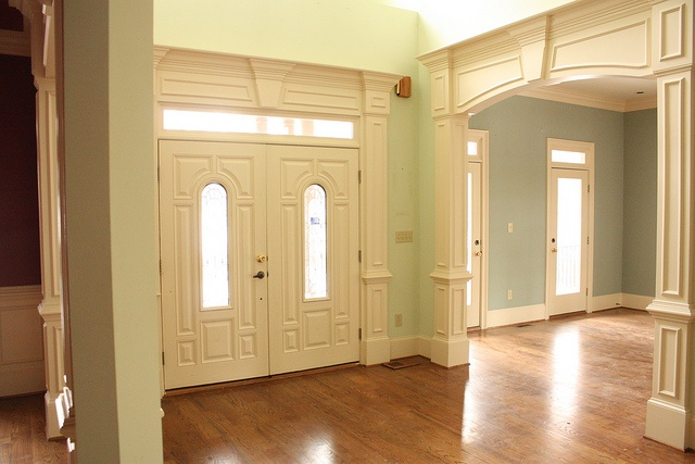 View of front doors from hall more moldings doors and for Baseboards doors and more