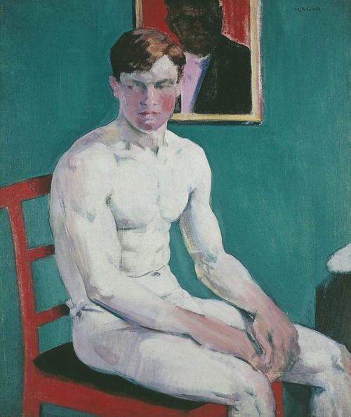 Francis Campbell Boileau Cadell (Scottish, 1883-1937)  The Boxer  Oil on board. Private collection.